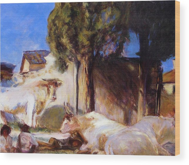 Acrylic Wood Print featuring the painting Oxen Resting by Chris Neil Smith