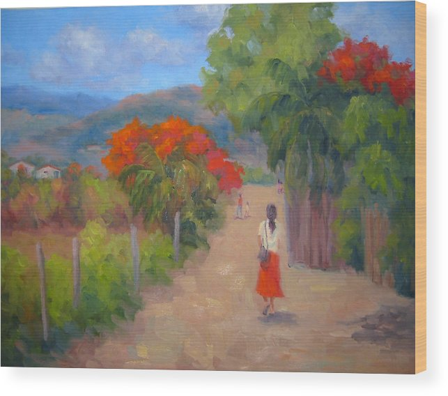 Honduras Wood Print featuring the painting Senorita In A Red Skirt by Bunny Oliver