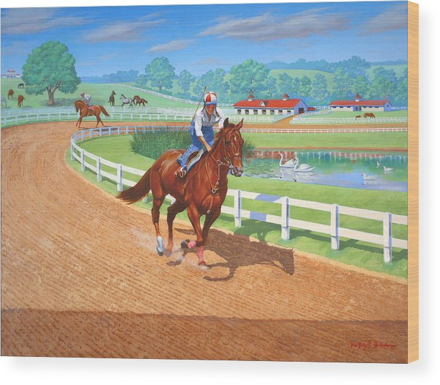 Western Artist Wood Print featuring the painting Spring Training by Howard Dubois