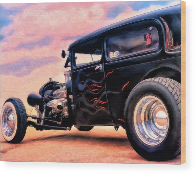 Rat Rod Wood Print featuring the painting The Black Ghost by Michael Pickett
