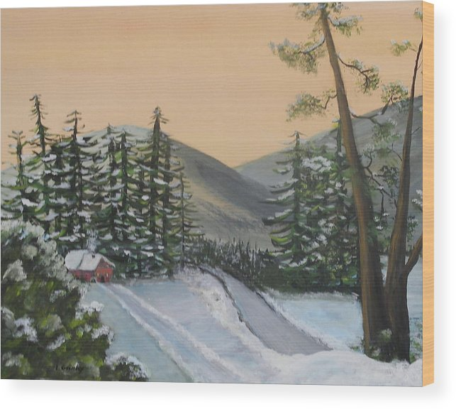 Winter Wood Print featuring the painting Winter by Lessandra Grimley