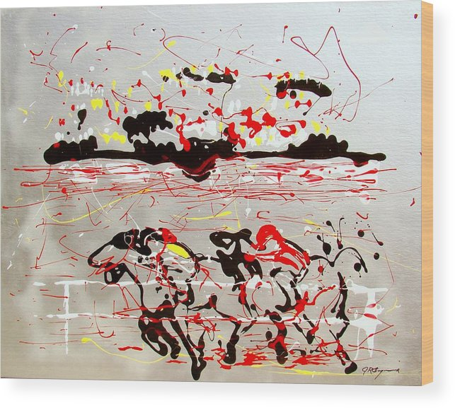 Abstract Wood Print featuring the mixed media And Down The Stretch They Come by J R Seymour