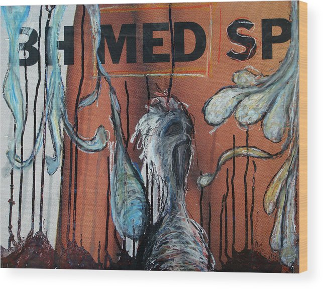 Oil Pastel Wood Print featuring the painting Free Art Number 1005 by Mark M Mellon
