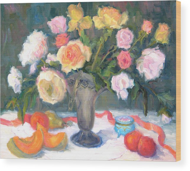 Roses Wood Print featuring the painting Roses And Fruit by Bunny Oliver