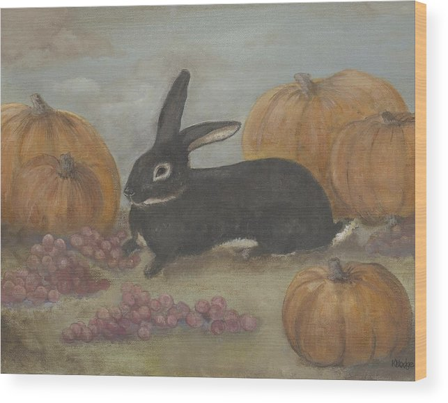 Rabbit Wood Print featuring the painting Teddy by Kimberly Hodge