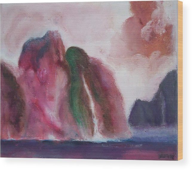 Abstract Painting Wood Print featuring the painting Waterfull by Suzanne Udell Levinger