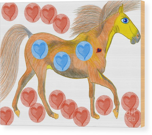 Horses Wood Print featuring the painting Zelig by Tess M J Iroldi