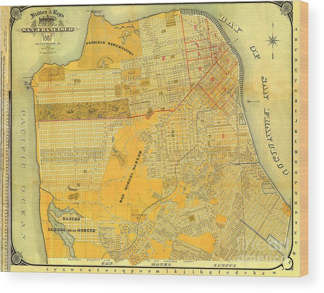 Britton And Reys Wood Print featuring the photograph Britton And Reys Guide Map Of The City Of San Francisco. 1887. by California Views Archives Mr Pat Hathaway Archives