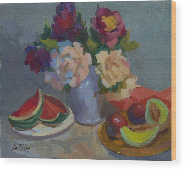 Watermelon Wood Print featuring the painting A Study In Red by Diane McClary