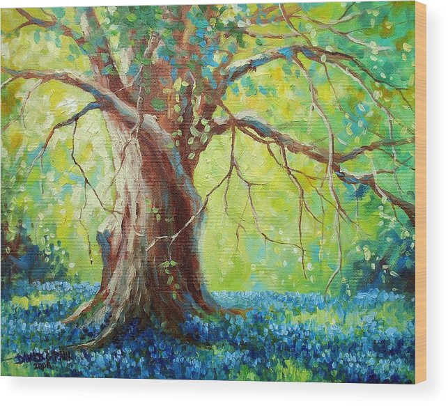 Bluebonnets Wood Print featuring the painting Bluebonnets Under The Oak by David G Paul