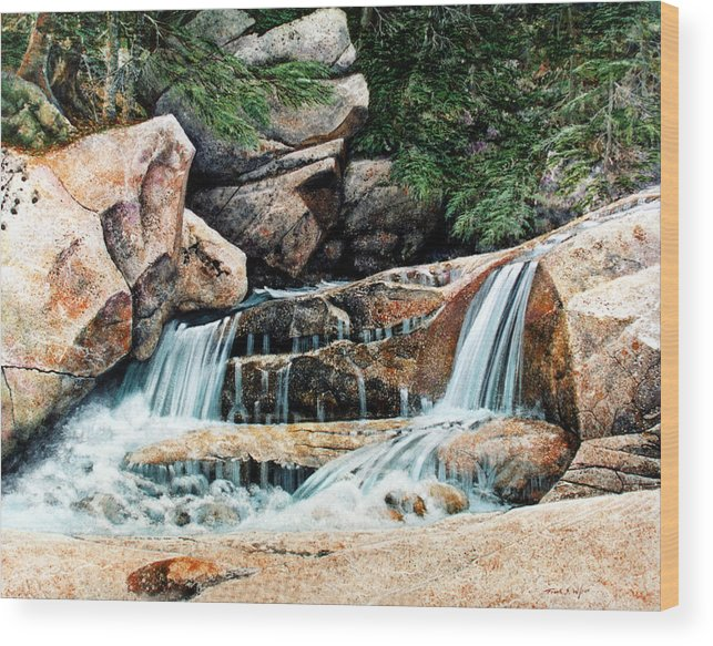Landscape Wood Print featuring the painting Mountain Stream by Frank Wilson