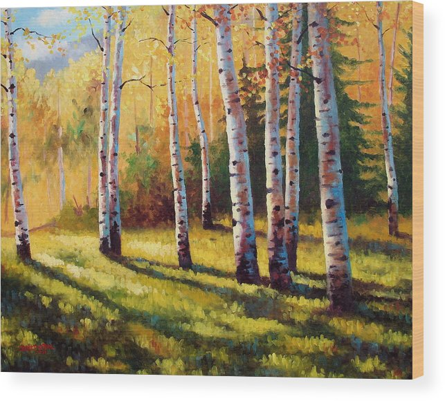 Landscape Wood Print featuring the painting Autumn Shade by David G Paul