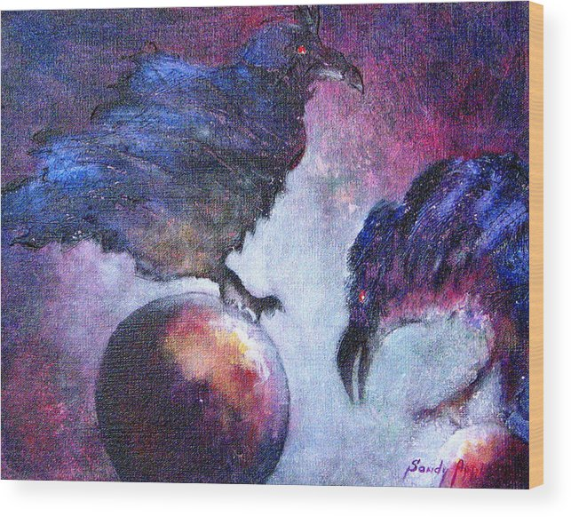 Raven Wood Print featuring the painting Bird Or Fiend by Sandy Applegate