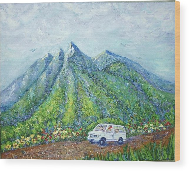 Mountains Wood Print featuring the painting Chief And Amigos South Of The Border by Sheri Hubbard