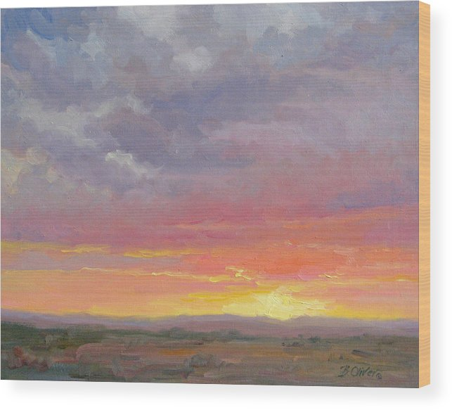 Sunset Wood Print featuring the painting Desert Sundown by Bunny Oliver