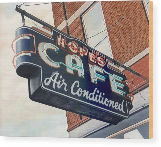 Cityscape Wood Print featuring the painting Hope's Cafe by Van Cordle