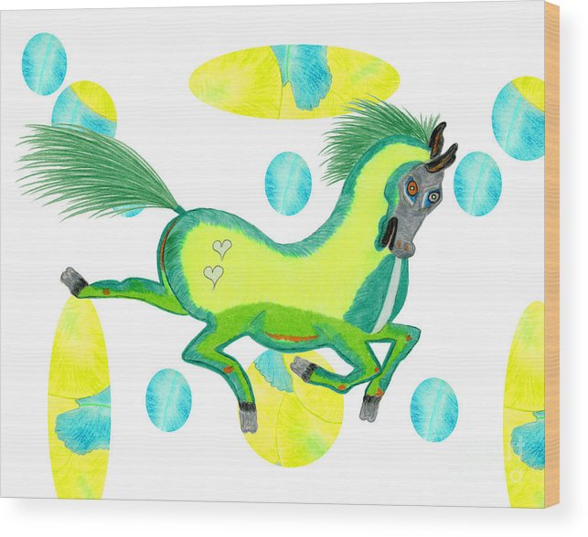 Horse Wood Print featuring the painting Imu by Tess M J Iroldi