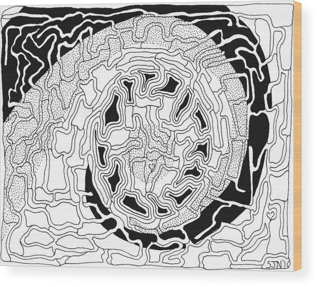 Abstract Wood Print featuring the drawing Karma by Steven Natanson