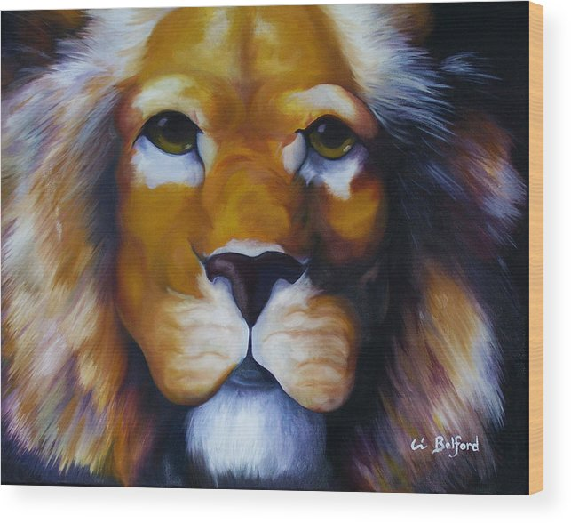 Lion Wood Print featuring the painting Lion by Eric Belford