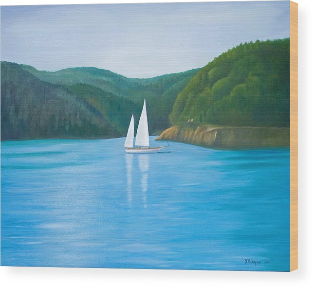 Seascape Wood Print featuring the painting Mason's Sailboat by Stephen Degan