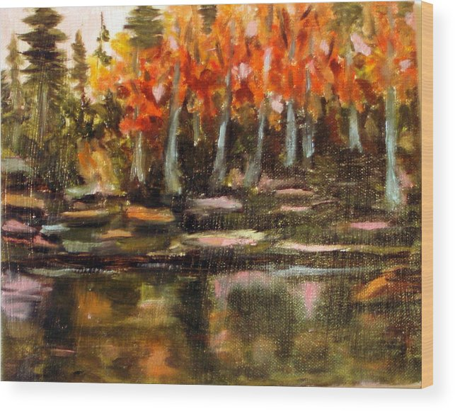 Fall Wood Print featuring the painting Pond 1 by Lia Marsman