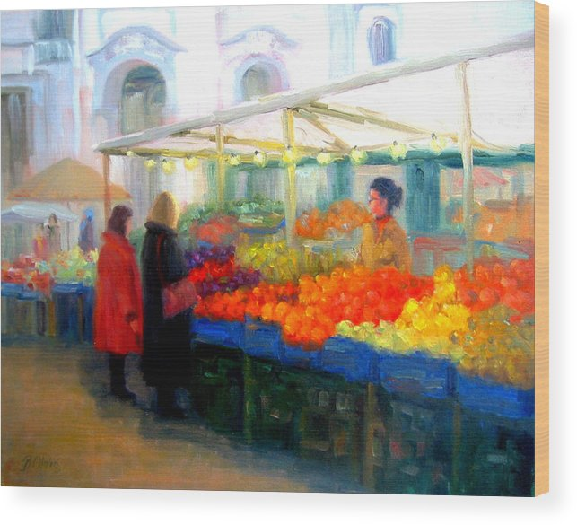 Market Wood Print featuring the painting Salzburg Shoppers by Bunny Oliver