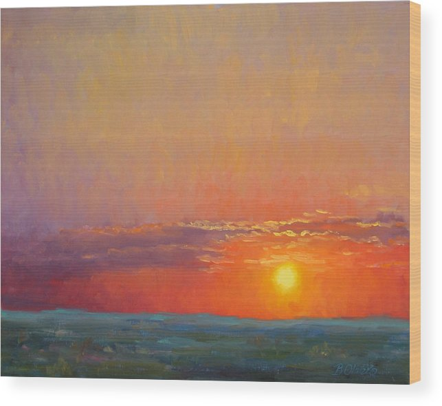 Sunset Wood Print featuring the painting Summer Of The Red Sky by Bunny Oliver