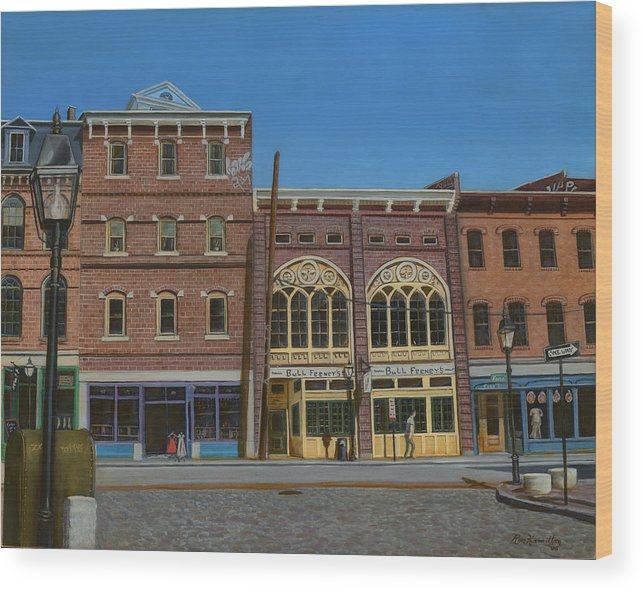Cityscape Wood Print featuring the painting Tavern In Old Port by Ron Hamilton