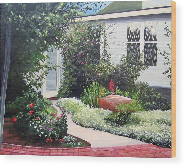 Garden Path Wood Print featuring the painting The Hidden Garden by Hunter Jay