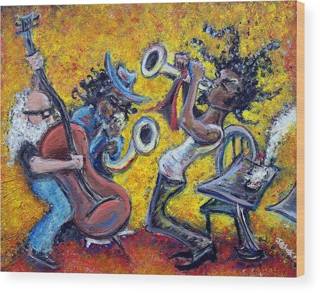 Jazz Music Art Black Musician Wood Print featuring the painting The Jazz Trio by Jason Gluskin