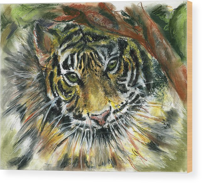 Tiger Wood Print featuring the painting Tiger by Marilyn Barton