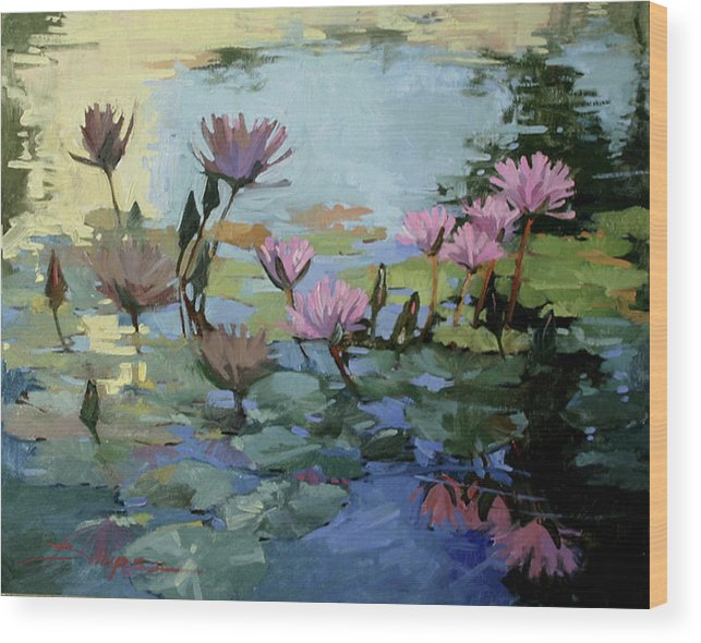 Floral Wood Print featuring the painting Times Between - Water Lilies by Betty Jean Billups