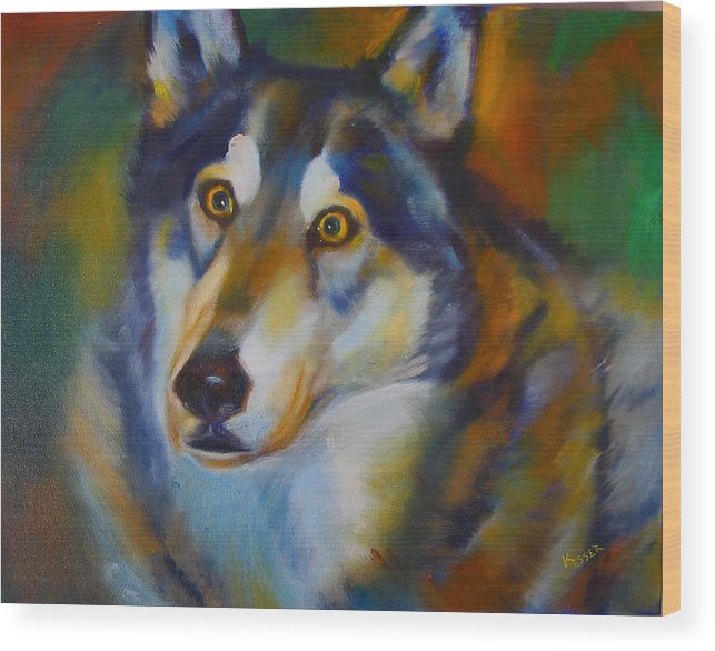 Animal Painting Wood Print featuring the painting Wolf Spirit by Kaytee Esser