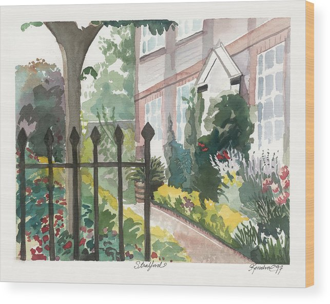 Landscape Wood Print featuring the painting Stratford 10x8 by Kendra Kurth Clinton