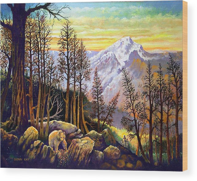 Colorado New Mexico Texas Cowboy Giclee Prints Bears Mountains Horses Southwest Landscape Wood Print featuring the painting Bear Berries And Riders by Donn Kay