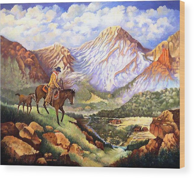 Mountains Cowboys Horses Foal Snow Colorado New Mexico Wood Print featuring the painting New Family Member by Donn Kay
