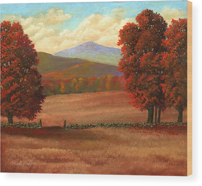 Autumn Wood Print featuring the painting Autumn Pastures by Frank Wilson