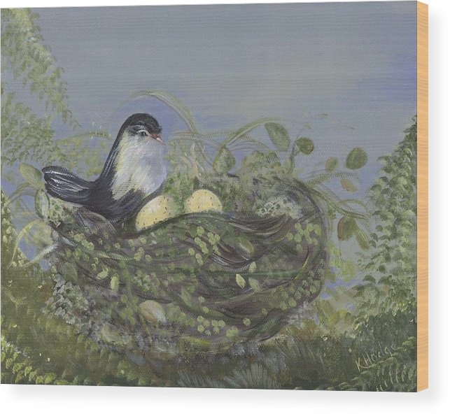Birds Wood Print featuring the painting Blessed Nest by Kimberly Hodge