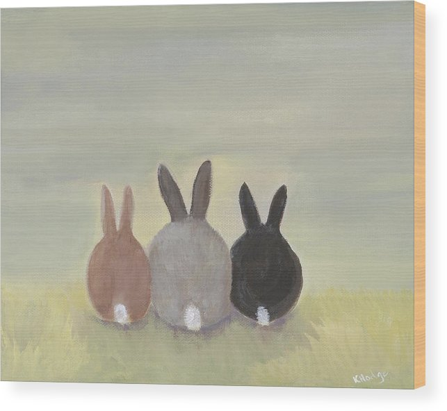 Bunny Wood Print featuring the painting Bunrise by Kimberly Hodge