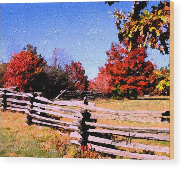 Fence Wood Print featuring the digital art Country Autumn by Anthony Caruso