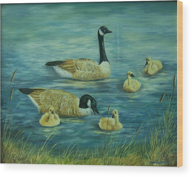 A Pair Of Mallards Wood Print featuring the painting First Lesson by Wanda Dansereau