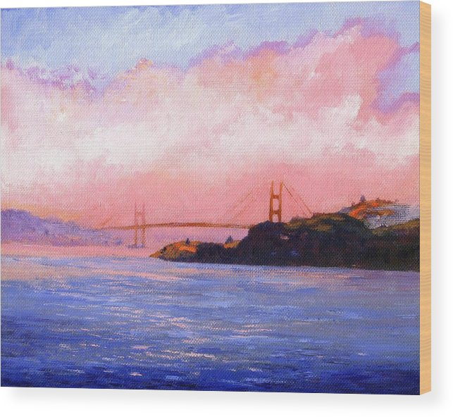 Landscape Wood Print featuring the painting Golden Gate Bridge by Frank Wilson