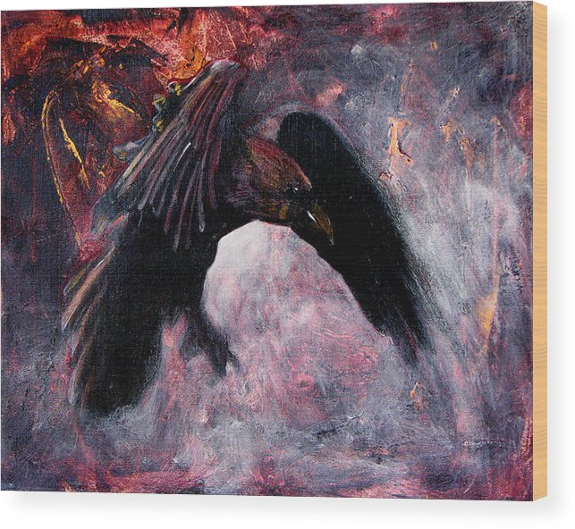 Raven Wood Print featuring the painting Grave And Stern Decorum by Sandy Applegate