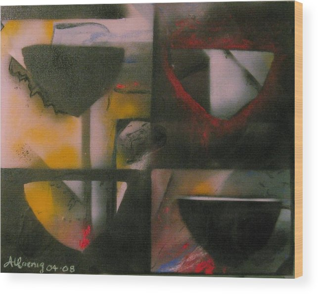 Wood Print featuring the painting Incomplete Drops Of Salvation by Andrea Noel Kroenig