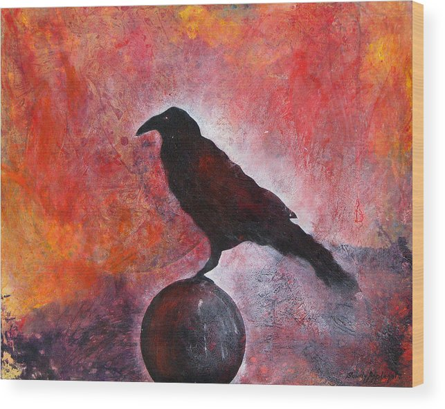 Raven Wood Print featuring the painting Long I Stood There by Sandy Applegate