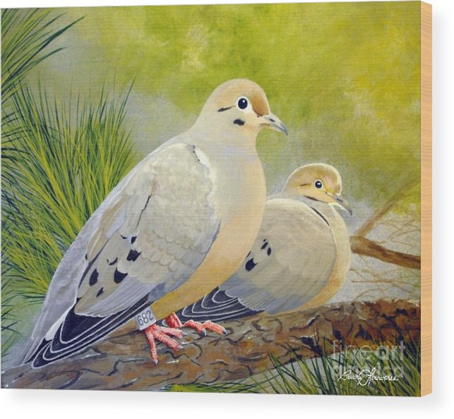 Morning Doves Wood Print featuring the painting Morning Doves by Barry Louwerse