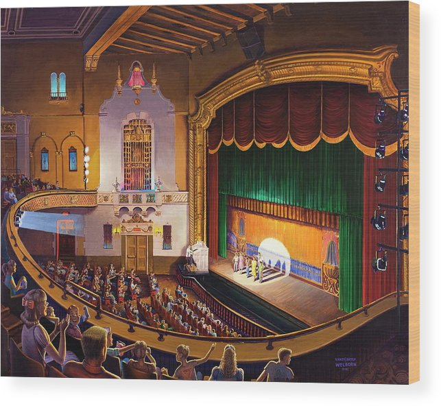 Jefferson Theatre Wood Print featuring the painting Organ Club - Jefferson by Randy Welborn