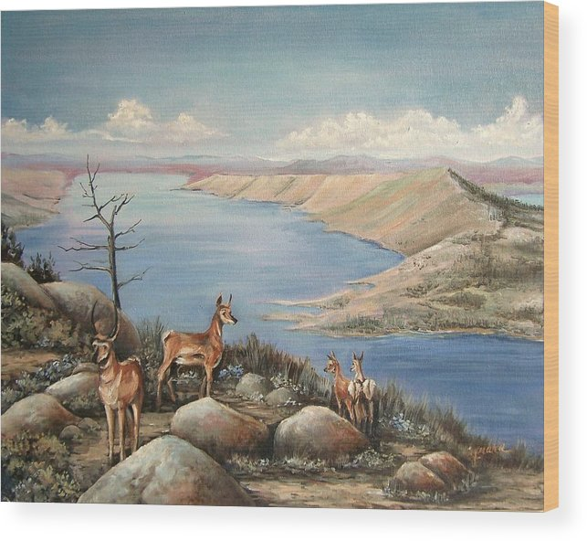Antelope Overlook Wyoming Landscape Wood Print featuring the painting Overlook by Cynara Shelton