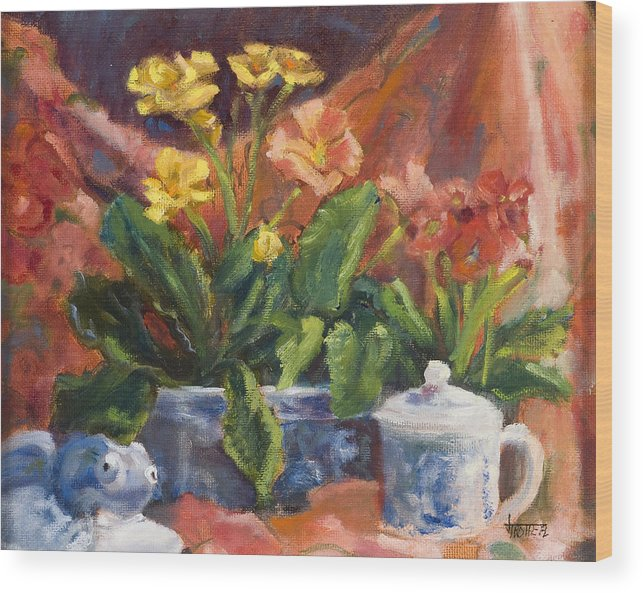 Flowers Wood Print featuring the painting Primroses And Blue China by Jimmie Trotter
