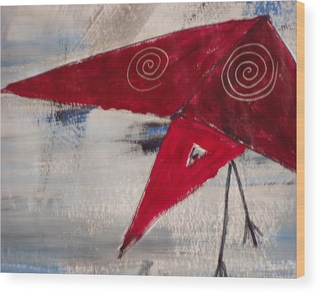 Redbird Wood Print featuring the painting Red Bird by Patti Bean